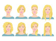 vector illustration of young woman's face with different hair style on white background