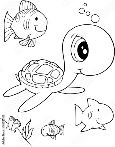 Fotobehang Cartoon draw Cute Sea Turtle Vector Illustration Art