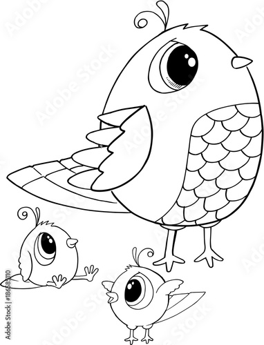 Fotobehang Cartoon draw Cute Birds Vector Illustration Art