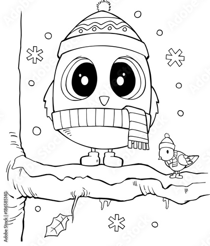 Fotobehang Cartoon draw Cute Winter Holiday Owl Vector Illustration Art