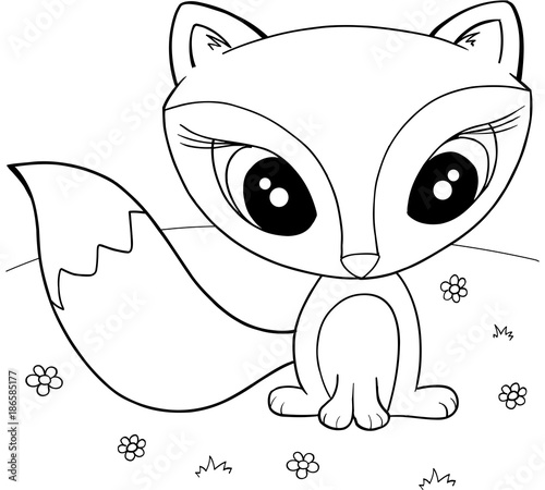 Fotobehang Cartoon draw Cute Fox Vector Illustration Art