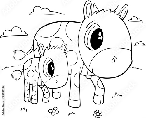 Fotobehang Cartoon draw Cute Cows Vector Illustration Art