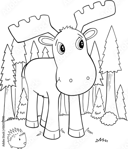 Fotobehang Cartoon draw Cute Moose Vector Illustration Art