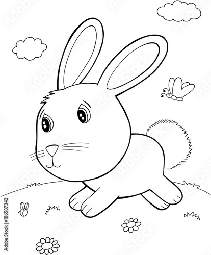 Fotobehang Cartoon draw Cute Easter Bunny Rabbit Vector Illustration Art