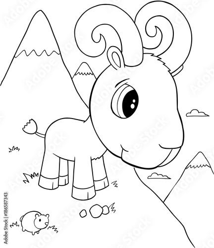 Fotobehang Cartoon draw Cute Ram Vector Illustration Art