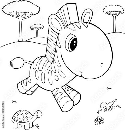 Fotobehang Cartoon draw Cute Zebra Vector Illustration Art