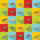 Dinosaur types signed name icons set. Flat illustration of 25 dinosaur types signed name vector icons for web