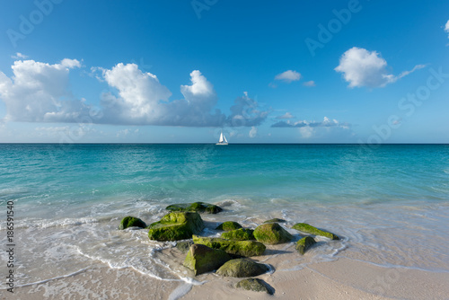 Fotobehang Tropical strand Green rocks at Aruba beach
