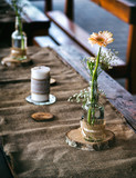 Wedding decoration on the table, tablecloth and other decoration made of burlap