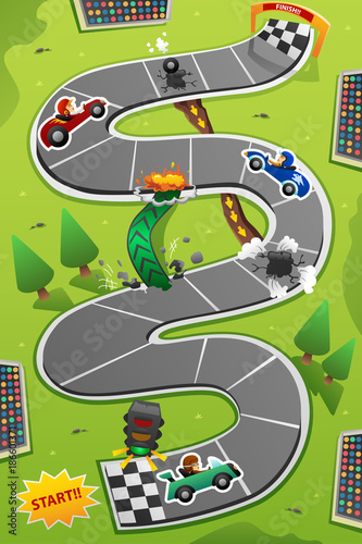 Aluminium Auto Car Racing Board Game Illustration