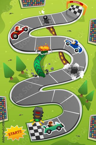 Fotobehang Auto Car Racing Board Game Illustration