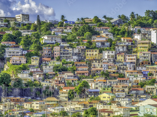 Fridge magnet House covered hillside in Fort-de-France, capital city of Martinique, an overseas department of France.