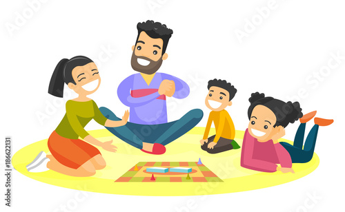Young caucasian white parents with their little children sitting on the floor and playing together board game at home. Family vacation concept. Vector cartoon illustration isolated on white background
