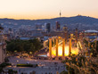 Aerial view of barcelona city from monjuic at dusk time,Spain