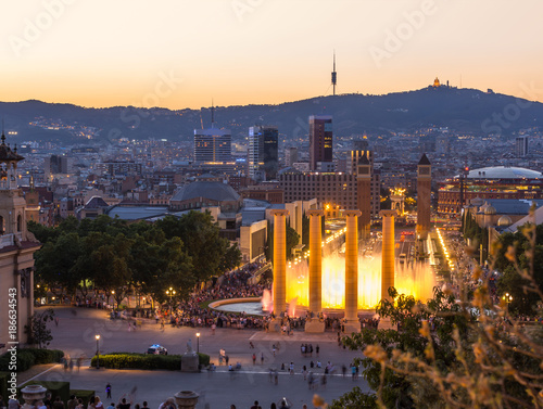 Aluminium Barcelona Aerial view of barcelona city from monjuic at dusk time,Spain