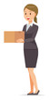 A business woman in a suit has a cardboard box