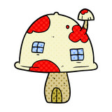 cartoon fairy mushroom house