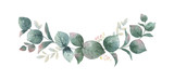 Watercolor vector wreath with green eucalyptus leaves and branches. - 186648124