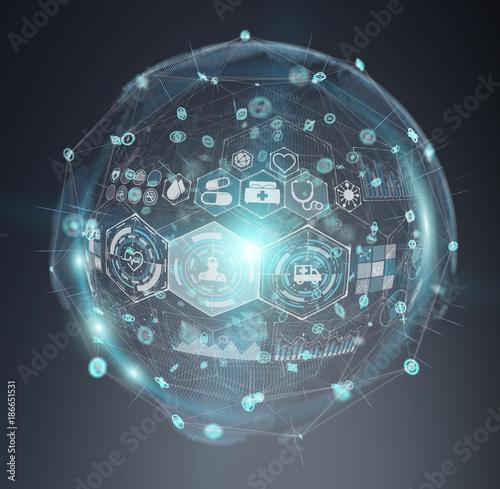 Foto op Canvas Snelle auto s Digital medical sphere interface 3D rendering