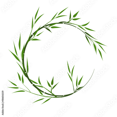 Round frame with bamboo. Vector frame with bamboo leaves.