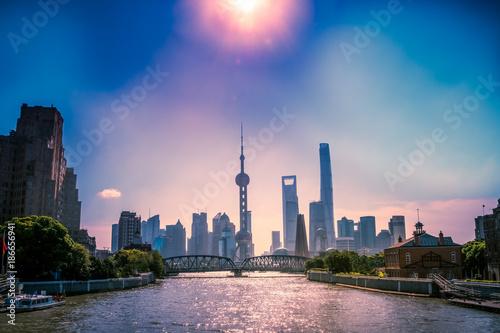 Foto op Canvas Shanghai the urban Shanghai city view, filter apply