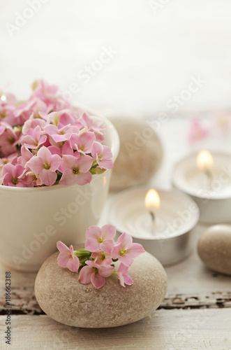 SPA still life - pebbles and flowers - 186662388