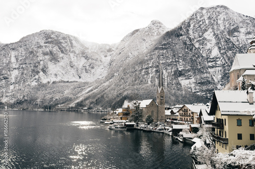 Foto op Canvas Natuur Beautiful winter day at Hallstatt, Austria. Sunny weather at wintertime.