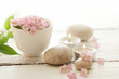 SPA still life - pebbles and flowers - 186662790