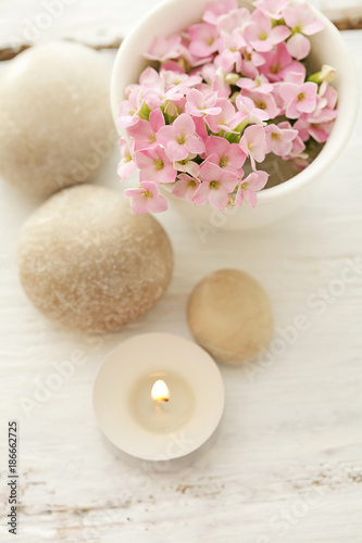 Foto op Canvas Zen SPA still life - pebbles and flowers