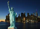 Statue of Liberty and Manhattah skyline. - 186663107