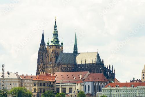 Foto op Canvas Praag PRAGUE, CZECH REPUBLIC - JUNE 25, 2016: St. Vitus Cathedral at Prague Castle.