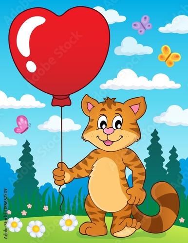 Deurstickers Voor kinderen Valentine cat theme image 3