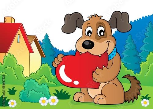 Deurstickers Voor kinderen Valentine dog theme image 4