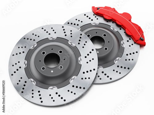 Fototapeta Car brake discs and red calipers isolated on white background. 3D illustration