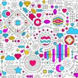 seamless pattern with abstract doodle ornament. colorful on white background - 186670396