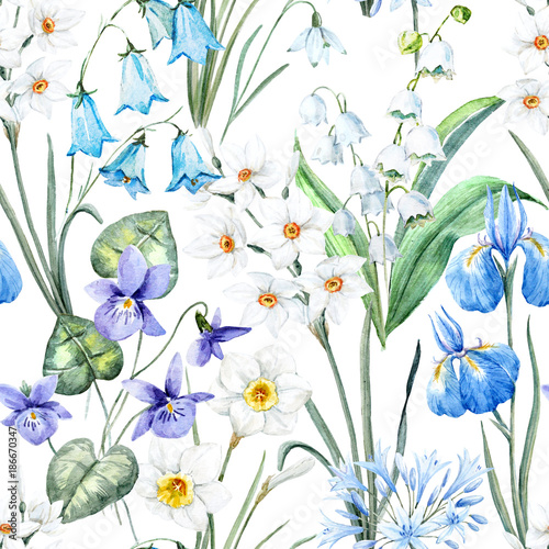 Cotton fabric Watercolor spring floral pattern