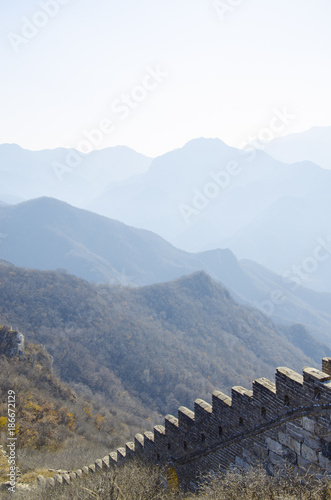 Fotobehang Peking Great wall of China and Mountains near Beijing