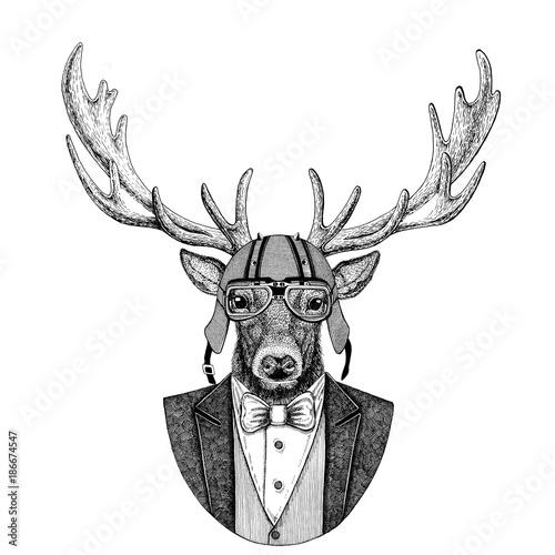 deer-animal-wearing-jacket-with-bow-tie-and-biker-helmet-or-aviatior-helmet-elegant-biker-motorcycle-rider-aviator-image-for-tattoo-t-shirt-emblem-badge-logo-patch