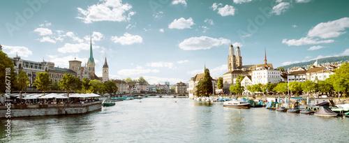 Fotobehang Panoramafoto s Panoramic view of historic Zurich city center, Switzerland