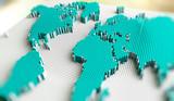 Mapa del mundo y tecnologia.Negocios internacionales y trabajo en red