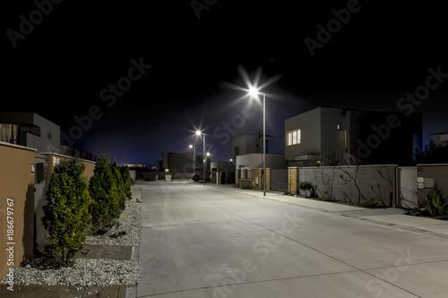 empty night street in residential area - 186679767