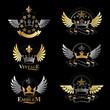 Ancient Crowns emblems set. Heraldic vector design elements collection. Retro style label, heraldry logo.