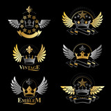 Ancient Crowns emblems set. Heraldic vector design elements collection. Retro style label, heraldry logo. - 186684979