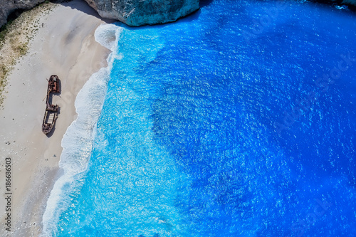 Poster Donkerblauw Aerial view of Navagio (Shipwreck) Beach in Zakynthos island, Greece.