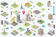 Set of isometric city buildings. Town district landscape with urban infrastructure streets and houses. 3D map vector illustration. - 186689385