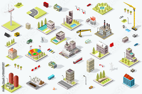 Fridge magnet Set of isometric city buildings. Town district landscape with urban infrastructure streets and houses. 3D map vector illustration.