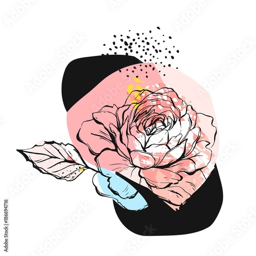 Hand drawn vector abstract creative unusual illustration with graphic peony flower in pastel colors.Hand made drawing textures.Wedding,anniversary,birthday,party invitations,greeting,sign,logo - 186694716
