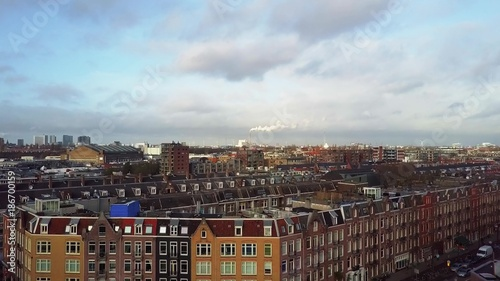 Fotobehang Amsterdam Aerial shot of the city rooftops. Amsterdam, Netherlands