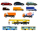 Vector set of different car, vehicle and truck. Passenger car, delivery vehicle, construction truck and city public transport. Isolated on white background.