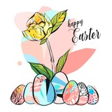 Hand drawn vector abstract creative Happy Easter greeting illustration with abstract brush painted textured eggs in pastel colors isolated on white background.Easter spring decoration background - 186702913